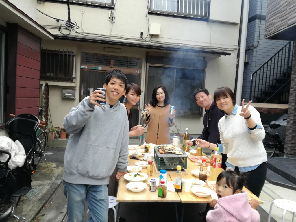BBQ in front of Zoshigaya Neighborhood House